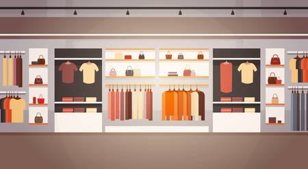 boutique display: Big Fashion Shop Super Market Female Clothes Shopping Mall Interior Banner With Copy Space Flat Vector Illustration Illustration