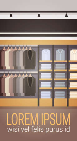 clothing rack: Big Fashion Shop Super Market Male Clothes Shopping Mall Interior Banner With Copy Space Flat Vector Illustration