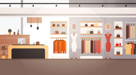 Big Fashion Shop Super Market Female Clothes Shopping Mall Interior Banner With Copy Space Flat Vector Illustration Vectores