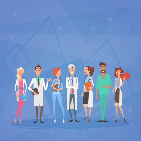 Grupo Médicos Médicos Equipo Clínicas Hospital Plano Ilustración Vectorial