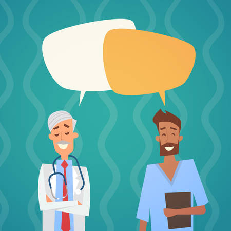 therapy group: Group Medial Doctors Chat Bubble Social Network Communication Team Clinics Hospital Flat Vector Illustration Illustration