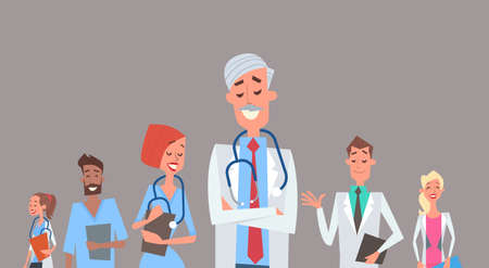 therapy group: Group Medial Doctors Team Clinics Hospital Flat Vector Illustration