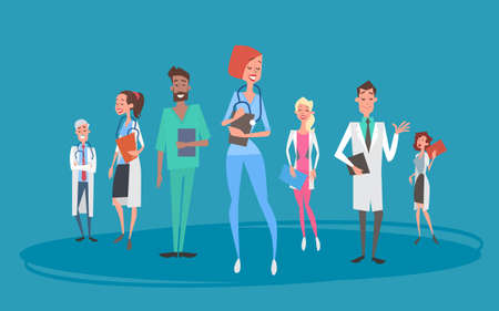 group therapy: Group Medial Doctors Team Clinics Hospital Flat Vector Illustration