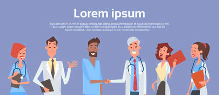 Group Medial Doctors Hand Shake Team Clinics Hospital Flat Vector Illustration