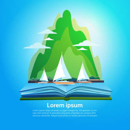 an open space: Open Book Mountain Geography Read School Education Knowledge Concept Flat Vector Illustration
