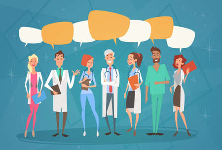group therapy: Group Medial Doctors Chat Bubble Social Network Communication Team Clinics Hospital Flat Vector Illustration Illustration