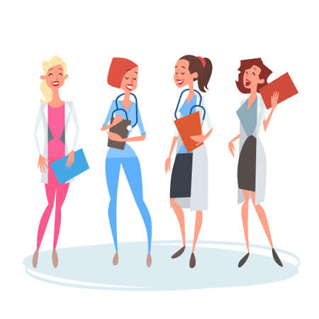 group therapy: Group Medial Doctors Woman Team Clinics Hospital Flat Vector Illustration
