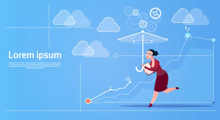 Business Woman Run With Umbrella Security Concept Flat Vector Illustration