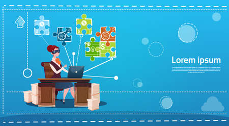 office wear: Business Woman Wear Digital Virtual Reality Glasses Sitting Desk Office Working Place Computer Flat Vector Illustration Illustration