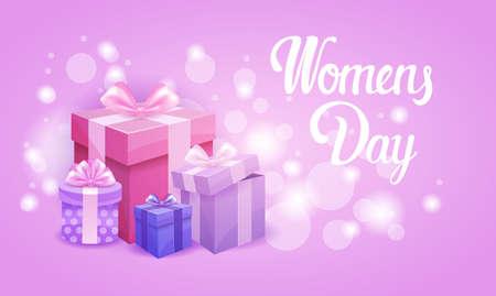 postcard box: 8 March International Women Day Greeting Card Flat Vector Illustration