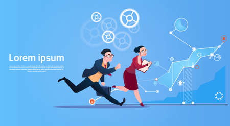 Business People Group Run Team Finance Graph Competition Concept Flat Vector Illustration