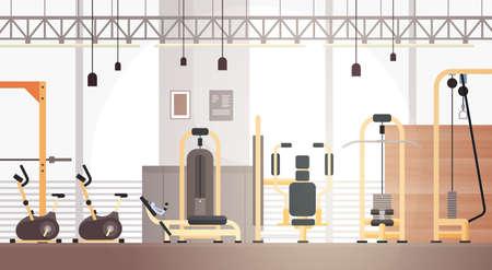 Sport Gymnase Équipement d'entraînement intérieur Espace texte Illustration vectorielle plate Vecteurs