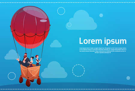 people: Business People Group Flying on Air Balloon Success Startup Concept Flat Vector Illustration