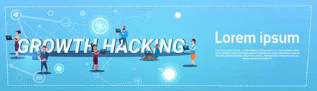 hacking: People Group With Gadgets Crowd Hacking Concept Flat Vector Illustration