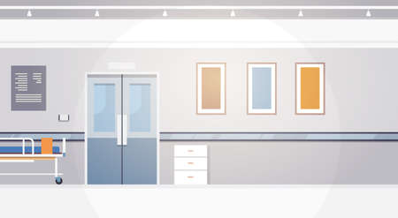 Hospital Room Interior Intensive Therapy Corridor Banner With Copy Space Flat Vector Illustration