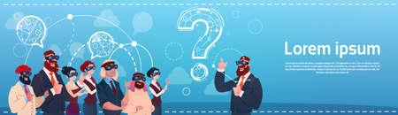 Business People Group Wear Digital Reality Glasses Question Mark Ponder Problem Concept Flat Vector Illustration