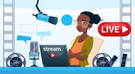 Woman Video Blogger Online Stream Blogging Subscribe Concept Flat Vector Illustration