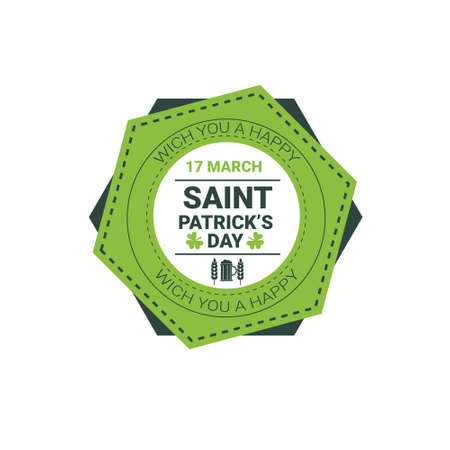 Saint Patrick Day Beer Festival Greeting Card Icon Flat Vector Illustration
