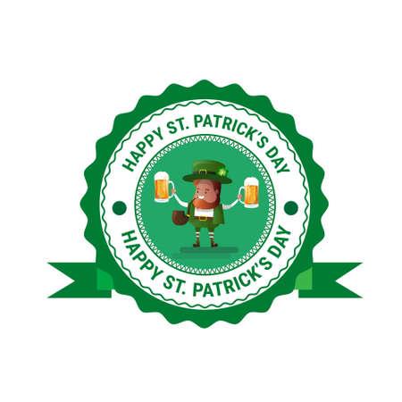 irish pub label design: Saint Patrick Day Beer Festival Greeting Card Icon Flat Vector Illustration