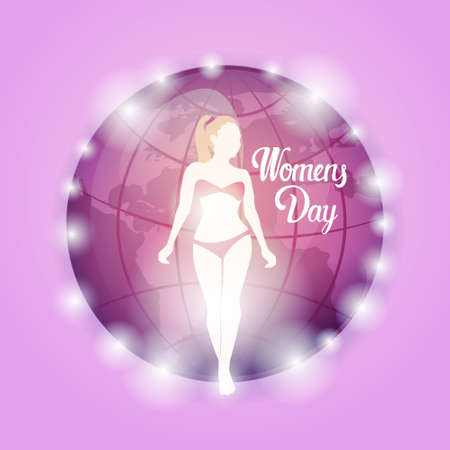 8 March International Women Day Greeting Card Flat Illustration