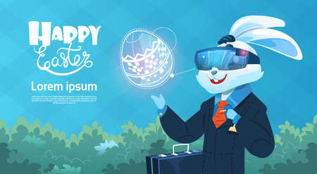 Rabbit Wear Digital Glasses Virtual Reality Decorated Eggs Easter Holiday Greeting Card Flat Vector Illustration