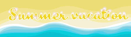 Summer Beach Vacation Set Sand Tropical Holiday Banner Flat Vector Illustration Illustration