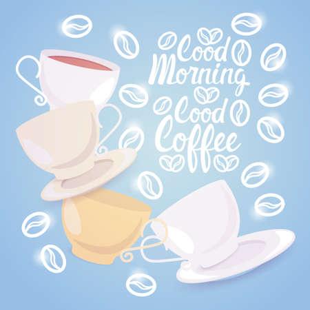 Coffee Cup Break Breakfast Drink Beverage Morning Flat Vector Illustration