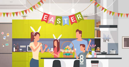 family: Family Kitchen Interior Celebrate Easter Holiday Decorated Colorful Eggs Greeting Card Flat Vector Illustration