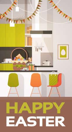 Kitchen Interior Easter Basket Decorated Colorful Eggs Holiday Symbols Greeting Card Vector Illustration Illustration