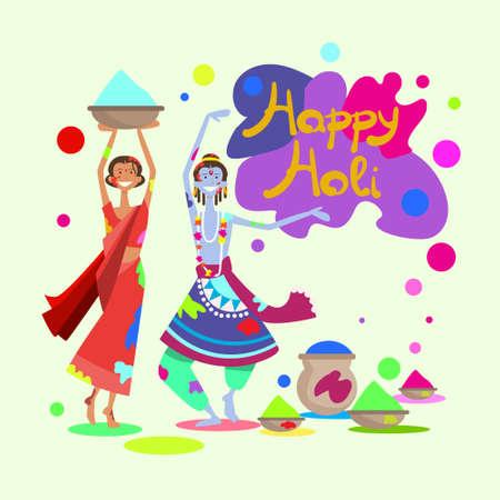 Happy Holi Religious India Holiday Traditional Celebration Greeting Cart Flat