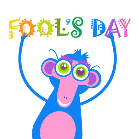 animal idiot: Smiling Monkey First April Fool Day Happy Holiday Greeting Card Flat Vector Illustration