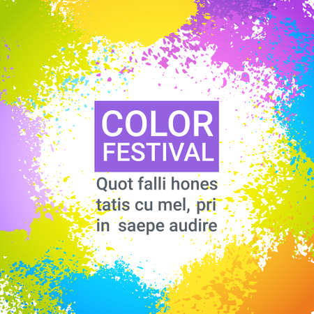 Color Festival Happy Holi India Holiday Traditional Celebration Greeting Cart Illustration