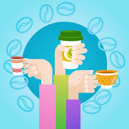 Hand Hold Cup Tea Coffee Break Morning Beverage Flat Vector Illustration