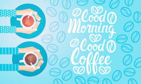 Hand Hold Cup Tea Coffee Break Morning Beverage Banner Flat Vector Illustration