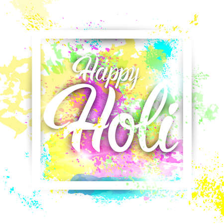dharma: Happy Holi Religious India Holiday Traditional Celebration Greeting Card Flat Vector Illustration