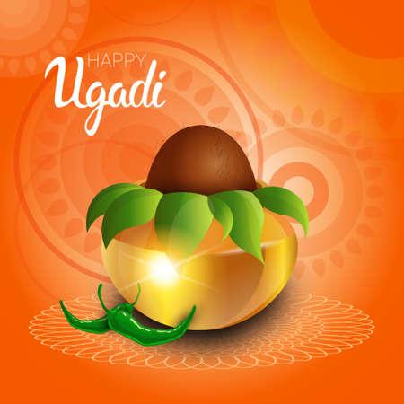 maharashtra: Happy Ugadi and Gudi Padwa Hindu New Year Greeting Card Holiday Pot With Coconut Flat Vector Illustration