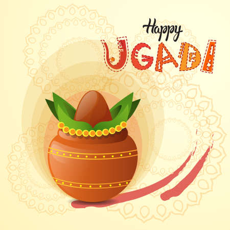 Happy Ugadi and Gudi Padwa Hindu New Year Greeting Card Holiday Pot With Coconut Flat Vector Illustration