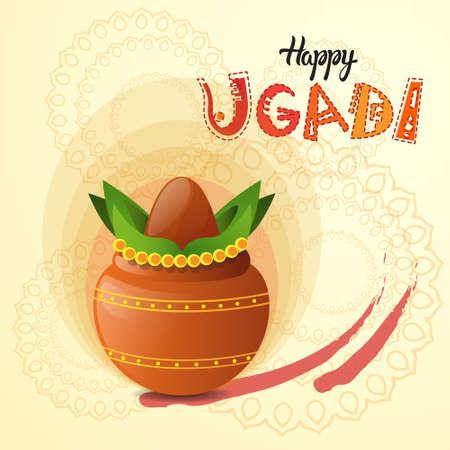 tamarindo: Tarjeta de felicitación feliz Ugadi y Gudi Padwa Año Nuevo hindú Pot día de fiesta con la ilustración de coco plana vectorial