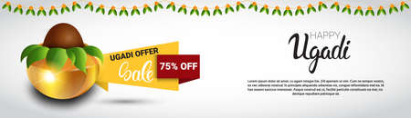 happy: Holiday Sale Shopping Happy Ugadi Gudi Padwa Hindu New Year Greeting Card Banner Flat Vector Illustration