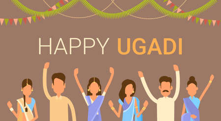 People Group Celebrate Happy Ugadi and Gudi Padwa Hindu New Year Greeting Card Holiday Flat Vector Illustration