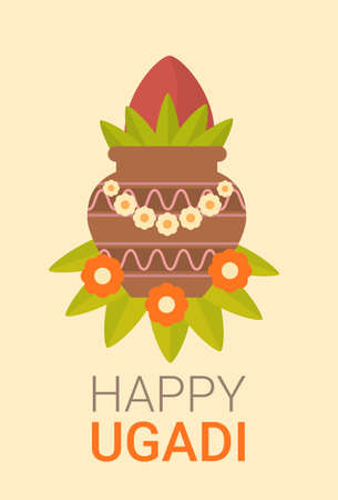 Happy Ugadi and Gudi Padwa Hindu New Year Greeting Card Holiday Pot With Coconut Flat Vector Illustration Stock Vector - 73706683