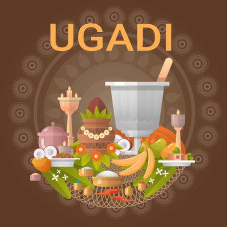 happy: Happy Ugadi and Gudi Padwa Hindu New Year Greeting Card Holiday Flat Vector Illustration