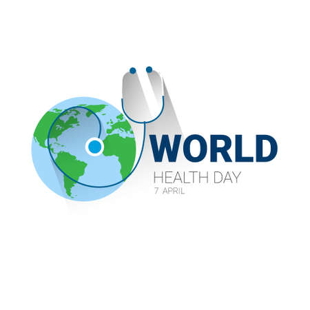 Earth Planet Stethoscope Health World Day Global Holiday Banner With Copy Space Flat Vector Illustration