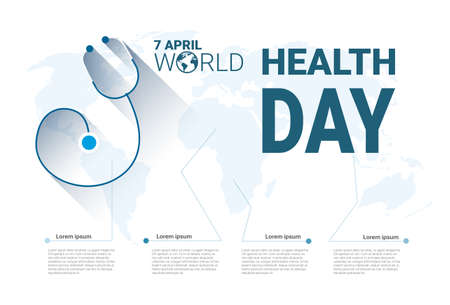 medicare: Health World Day Global Holiday Banner With Copy Space Flat Vector Illustration.
