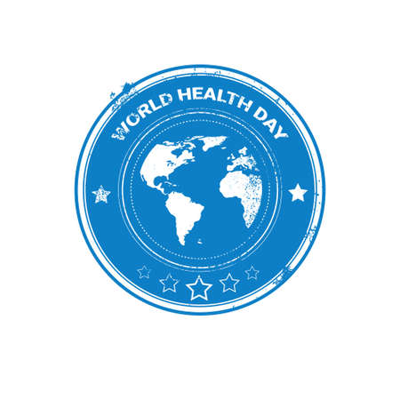 globe logo: Earth Planet Health World Day Global Holiday Stamp Flat Vector Illustration