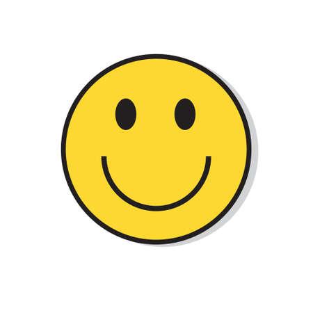 Żółta Uśmiechnięta Twarz Pozytywne Ludzie Ikona emocji płaski ilustracji wektorowych