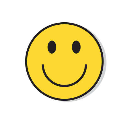 Yellow Smiling Face Positive People Emotion Icon Flat Vector Illustration