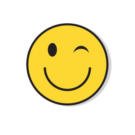 Het gele het Glimlachen Gezicht knipoogt de Positieve Vectorillustratie van het Mensenemotie