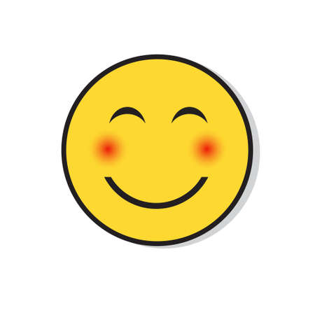 Yellow Smiling Face Shy Positive People Emotion Icon Flat Vector Illustration