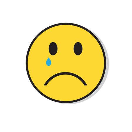 Yellow Sad Face Cry Negative People Emotion Icon Flat Vector Illustration